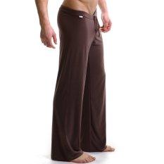 Diskon Es Piyama Sutra Pria Lepas Celana Yoga Pakaian Kasual For Pakaian Tidur Coklat L Hong Kong Sar Tiongkok