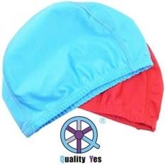 REKSA DANA QY 2 Pack Superior Polyester Fabric Kain Cap Renang Capsswimming Ha untuk Olahraga Air, Langit Biru dan Merah-Intl