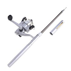 Mini Aluminum Alloy Pocket Pen Fishing Rod Pole Reel + Line Silver Portable - intl