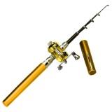 Dimana Beli Mini Saku Portabel Ikan Bentuk Pena Fishing Rod Campuran Aluminium Tiang Kincir Kuning Keemasan Oem