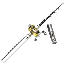 Harga Mini Saku Portabel Ikan Bentuk Pena Fishing Rod Campuran Aluminium Tiang Kincir Putih Keperakan Yang Murah Dan Bagus