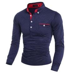 New Fashion Mens Slim Fit Long Sleeve Casual Polo Shirt(Dark blue)XXL -  intl