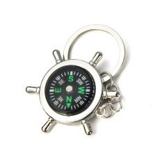 Terbaru Portable Alloy Silver Nautical Compass Helm Keychain Ring Chain-Internasional
