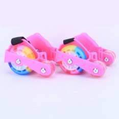 Tips Beli Baru Colorful Pu 4 Roda Flashing Roller Skates Pink Intl