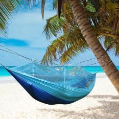 Ulasan Lengkap Niceeshop Single Person Hammock Hanging Bed Portabel High Strength Fabric Hammock Dengan Nyamuk Bersih Untuk Perjalanan Berkemah Di Luar Ruangan Sky Blue Biru