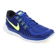 Nike Free 5 Sepatu Lari Pria Deep Royal Blue Volt Racer Blue Putih Nike Diskon 50
