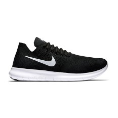 Nike Free Run Flyknit 2017 Sepatu Lari - Black/Dark-White