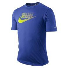 Harga Nike Kaos Fitnes As Nike Run Swoosh Tee Biru Yang Murah
