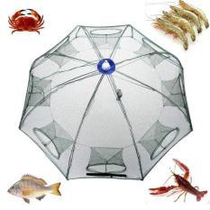 Jala nilon portabel Hexagon 8 lubang perangkap otomatis memancing udang ikan jaring ikan kecil kepiting umpan melemparkan jaring jala 93 cm x 93 cm - International
