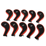 Review Oem 10 Pcs Lengan Golf Club Iron Putter Headcovers Kepala Cover Melindungi Case Merah Hitam Terbaru