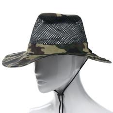 Diskon Outdoor Mesh Sunshade Fishing Bucket Hat Cap Camouflage Branded