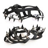 Jual Outdoor Non Slip 18 Teeth Silicone Ice Snow Shoe Grip Cover Strap Crampons Traction Device Attaches Over Boots Black Size 18 Tooth Silicone M Intl