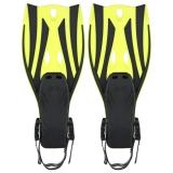 Review Terbaik Sepasang Gelombang Snorkeling Sirip Tumit Terbuka Flippers Ukuran S M Kuning Intl