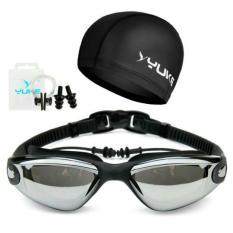 Paket kacamata renang dan topi renang/  Sport Kacamata renang paket dengan topi merk Yuke
