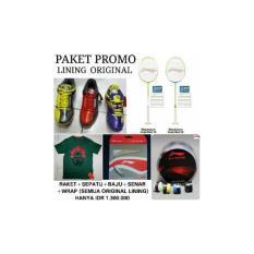 Paket Promo Raket Lining Windstrom Red 10 Atau 20 Bonus Sepatu Lining Saga Hero No.1 Ltdbonus Kaos Lining Original Bonus Senar AP64