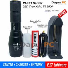 Beli Paket Senter E17 Led Cree Xm L T6 2000 Lumens Battery Charger Murah
