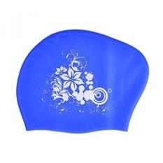 Peacoco Besar Silicone Swim Cap untuk Wanita Wanita Pria dan Dewasa, Swimming Cap untuk Rambut Panjang, Rambut Tebal, Rambut Keriting, Gimbal, Telinga Bungkus Swim Hat Menjaga Kering Rambut Biru-Intl