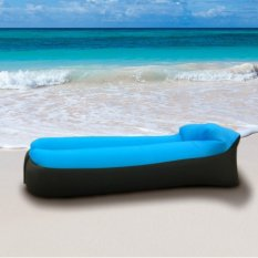 PopSky Giant Inflatable Lounger Chair with Carry Bag and Inflatable Air Sofa. Inflates in Seconds. Hangout as Lounge Chair, Bean Bag, Air Hammock, Sofa, Couch, Air Bag.for Your Life Add Happy and Rest-Blue and Black - intl