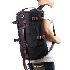 Portable Kanvas Man Backpack Rucksack Travel Outdoor Tas Duffle Hitam Asli