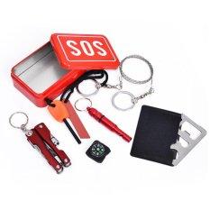 Portable Emergency Outdoor Peralatan Darurat Bag Survival Kit Kotak Kotak Self-help SOS Peralatan untuk Camping Hiking-Intl