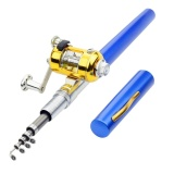 Jual Portable Telescopic Mini Fishing Pole Aluminum Alloy Pocket Pen Shape Fishing Rod With Lightweight Reel Wheel For Saltwater Ice Fishing Color Blue Lengh 1 Meters Di Bawah Harga
