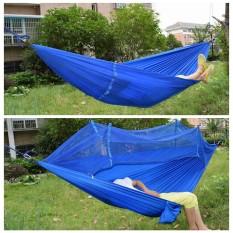 Diskon Produk Portable Travel Jungle Camping Outdoor Hammock Hanging Nylon Bed W Mosquito Net Blue