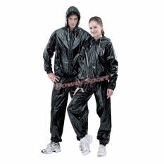Power Sport Sauna Suit Platinum Carbon Baju Sauna Pembakar Lemak dgn Resleting & Hoodie - Hitam