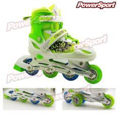 Spesifikasi Powersport Boom Inline Skate Sepatu Roda Adjustable Wheel Hijau Neon M 33 37 Paling Bagus
