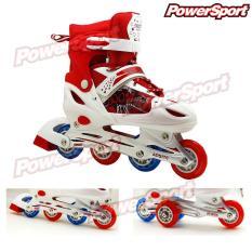 Ulasan Mengenai Powersport Boom Inline Skate Sepatu Roda Adjustable Wheel Merah S 28 32