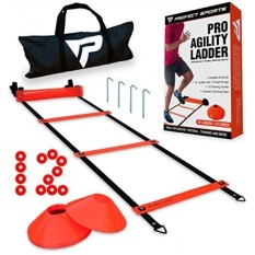 Pro Agility Ladder and Cones - 15 ft Fixed-Rung Speed Ladder with 12 Disc Cones for Soccer, Football, Sports Training - Includes Heavy Duty Carry Bag, etal Stakes and Top 20 Agility Drills eBook