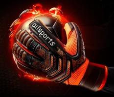Profesional Kiper Sarung Tangan Jari Perlindungan Mengental Lateks Sepak Bola Sepak Bola Kiper Sarung Tangan Goal Keeper Sarung Tangan (Oranye)-Internasional