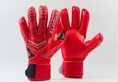 Profesional Kiper Sarung Tangan Jari Perlindungan Mengental Lateks Sepak Bola Sepak Bola Kiper Sarung Tangan Goal Keeper Sarung Tangan (Merah)-Internasional