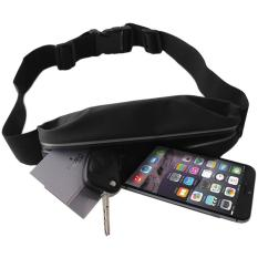 Promo!! Sport Belt Waterproof Tas Pinggang Olahraga Dompet Smartphone Premium High Quality Running / Bersepeda / Jogging / Jalan Santai - Hitam