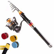 Protable 2 1M Carbon Fiber Fishing Rod Spinning Telescopic Mini Saltwater Fishing Pole With Metal Spool Spinning Fishing Reel Intl Promo Beli 1 Gratis 1