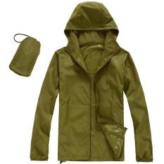 Qimiao Pria Wanita Cepat Kering Daki Gunung Jaket Anti-Air UPF30 Matahari & UV Perlindungan Mantel Luar Ruangan Sport Kulit Kemah Clothing Warna: hijau Angkatan Darat Ukuran: L-Internasional