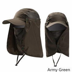 Ready Stock Unisex Outdoor Neck Protection Waterproof Sunshine Blocking Bush Hat Jungle Hat Sun Hat (Army Green) - intl