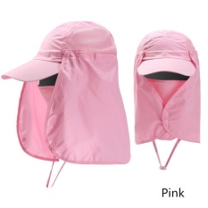 Ready Stock Unisex Outdoor Neck Protection Waterproof Sunshine Blocking Bush Hat Jungle Hat Sun Hat (Pink) - intl