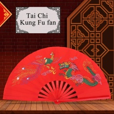 Merah Tai Chi Seni Bela Diri Kung Fu Bambu Kipas Sutra Kanan Tangan Wushu Dance Practice Pelatihan-Intl