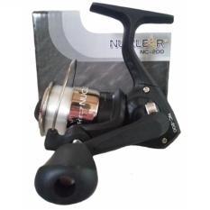 Pioner Reel Pancing Reel Pioneer Nuclear NC 200 dengan 2 Bearing include senar Gulungan Senar (Hitam/silver)
