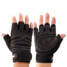 RIS Pasang Extened Wrist Wrap Sarung Tangan Latihan Kebugaran Angkat Besi Gym Olahraga XL