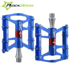 Spesifikasi Rockbros Sepeda Pedal Bersepeda Sealed 4 Bearing Pedal Flat Platform Satu Pair Tujuh Warna Biru Intl Baru