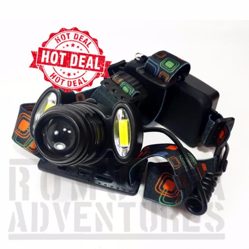 Harga Romusha Headlamp T6 Putar Dua Led Cob Plasma Fokus Zoom Led Putih 4 Mode Nyala Romusha Baru