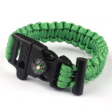 Tips Beli Rope Paracord Survival Bracelet Flint Fire Starter Compass Whistle Green Yang Bagus
