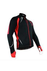 Santic Fleece Thermal Panjang Jersey Jaket Musim Dingin Gabriel Hitam Merah