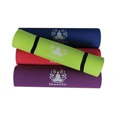 ShantiFit Ramah Lingkungan Premium TPE 6mm Non-slip Yoga/Pilates Mat dengan Carrying Strap
