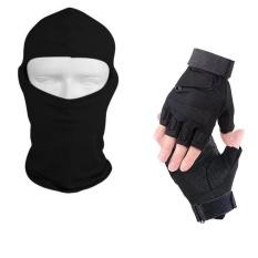 Ukuran M (Hitam) 1 Pair Setengah Finger Sarung Tangan + 1 PC Balaclava Masker Wajah Penuh untuk Windproof Matahari UV Blok Militer Taktis Luar Ruangan Olahraga Berburu Naik Bersepeda Sepeda Angkat Berat Tinju Wanita Pria