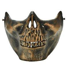 Tengkorak Kerangka Airsoft Permainan Berburu Biker Setengah Wajah Melindungi Gigi Masker Penjaga Gelap Perunggu-Internasional
