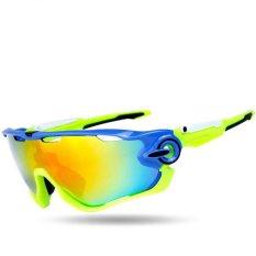 Smalotus 2016 Merek Paling Populer JBR 5 Pair Lensa Polarized Bersepeda Sunglasses Eyewear Sepeda Kacamata (Biru & Hijau)