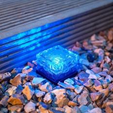 Solar Power LED Warna Mengubah Ice Cube Crystal Kaca Bata Luar Lampu Hot-Intl