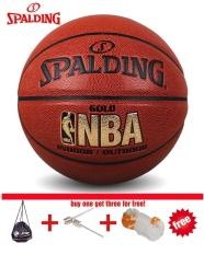 Spalding (74-606Y) NBA Disokong Kontrol Pegangan Indoor/Kompetisi Outdoor Resmi Ukuran 7 Basketball Bahan PU Bola Basket dengan Net + Tas + Pin-Intl